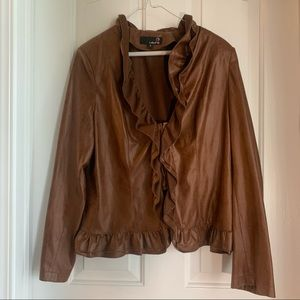 Laura Brown Faux Leather Ruffle Blouse